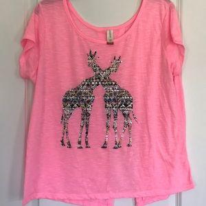 Hot Pink Metallic Giraffe Tee